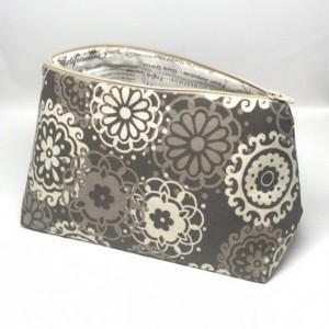 Large Cosmetic Bag, Grey Medallion Cosmetic Bag, Travel Bag, Large Make Up Bag, Travel Bag, Bags and Purses, Toiletry Bag, Makeup Organizer