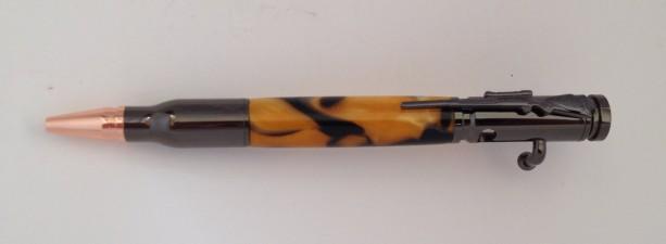 Bolt action 30cal pen in black gold