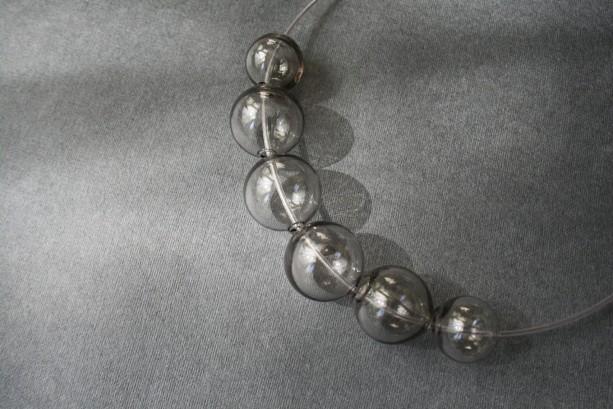 Blown Glass Necklace - Grey Transparent - Lightweight