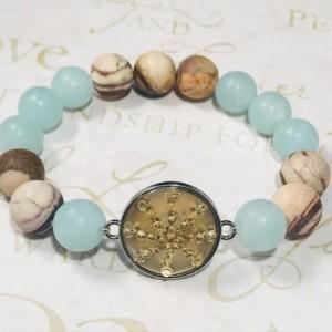 The Cami   handmade bead stretch bracelet, women's bracelet, aqua dyed jade, zebra jasper beads, frosted yellow glass bezel, Gifts for Her
