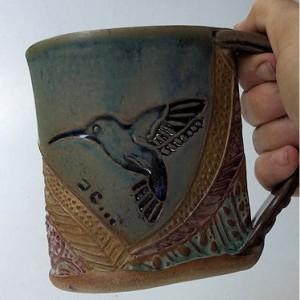 Hummingbird Pottery Mug