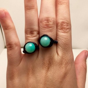 Black Turquoise Beaded Ring
