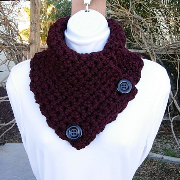 NECK WARMER SCARF Dark Burgundy Wine Red, Chunky Wool Blend, Black Buttons, Soft Thick Winter Crochet Knit Cowl..Ready to Ship in 2 Days