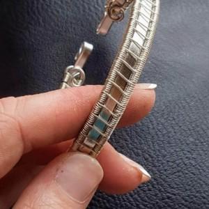 Silver and aluminum handmade bangle bracelet