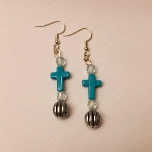 Cross Earrings and Bracelet Set