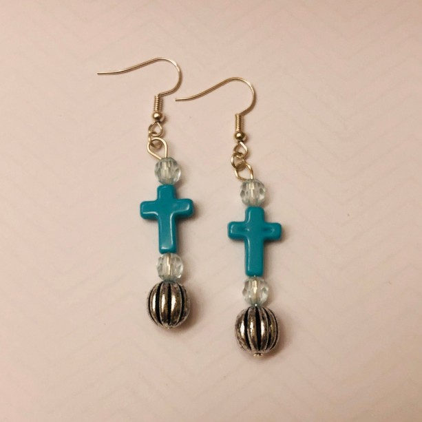 Cross Earrings and Bracelet Set
