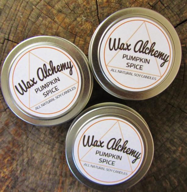 Pumpkin Spice Soy Candle / Three 4 oz Tins
