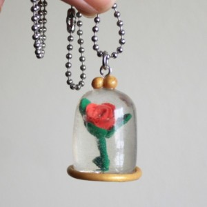 Enchanted Rose Necklace - Dome - Once Upon A Time - Resin - Polymer Clay - Gifts For Her