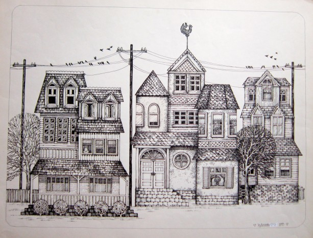 Pen & Ink Drawing of a Mid-Century Neighborhood