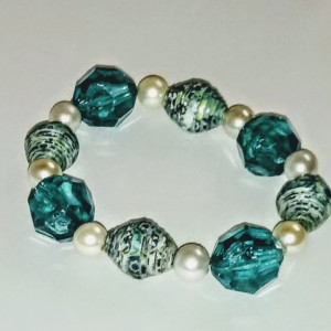Dark Turquoise and White Paper Bead Stretch Bracelet