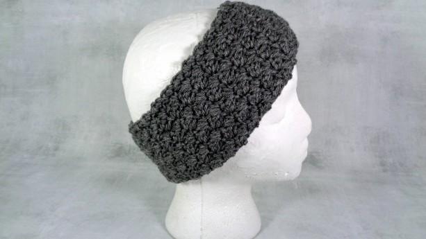 knit headband - crochet headband - winter ear warmer - winter head wear - stocking stuffer - gift under 20 - winter headband - grey warmer
