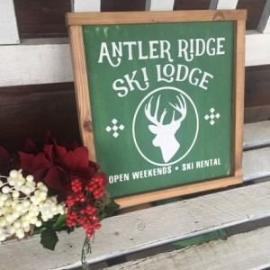 Antler Ridge Reindeer Rustic Christmas Wall Hanging Sign
