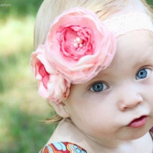 Baby Headbands, Coral Baby Headband,Flower Headband,Baby Girl Headband,Infant headband, Newborn Headband, Shabby Chic Headband, Baby Bows.