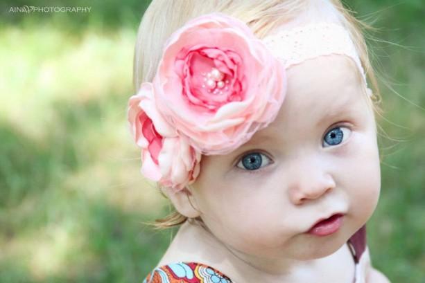 Baby Headbands, Coral Baby Headband,Flower Headband,Baby Girl Headband,Infant headband, Newborn Headband, Shabby Chic Headband, Baby Bows.