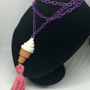 Ice Cream Cone Upcycled Eraser Toy with Tassel Necklace - Ice Cream Emoji Jewelry - Tassel Necklace - Upcycled Toy Necklace -  Vanilla Cup