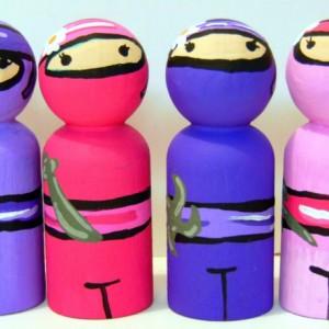 Ninja girl dolls - Ninja girl party - Ninja warriors - Ninja action figure - Ninja party favors - Ninja girl cake topper - Gift for girl -