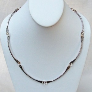 Sterling Silver Necklace Bar Link Chain 'B' 18 to 23 Inches Long Handmade