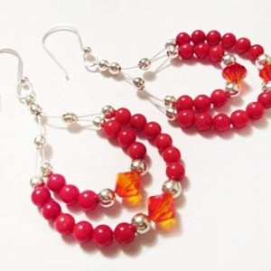 Chandelier Gemstone Earrings, Red Coral Earrings, Beaded Earrings, Crystal and Gemstones, Drop Earrings, Everyday Jewelry, On Sale, Gift