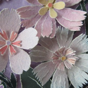 Watercolored & torn paper flowers and leaves