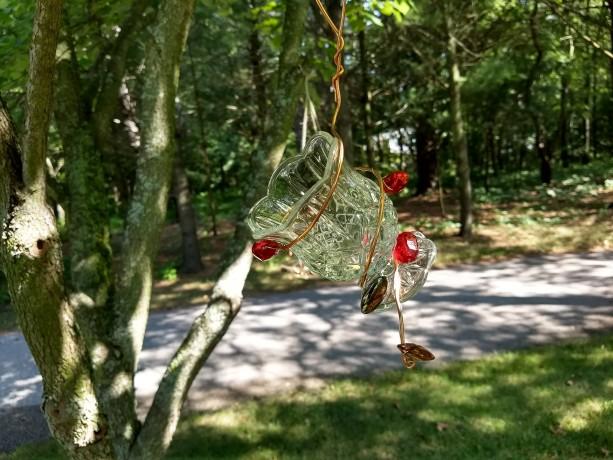 glass jelly bird feeder