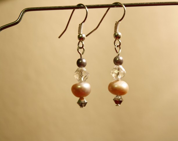 Pink pearl dangle earrings