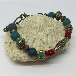 Tibetan mala beads, Tibetan beads bracelet, Coral and turquoise bracelet, gift for anyone
