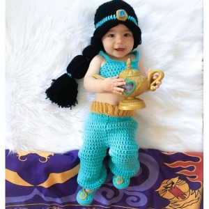 Princess Jasmine Inspired Costume/ Crochet Princess Jasmine Wig/Princess Costume/Princess Photo Prop -MADE TO ORDER