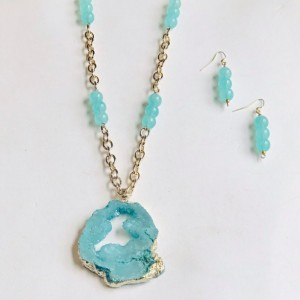 Seafoam Druzy Necklace Set