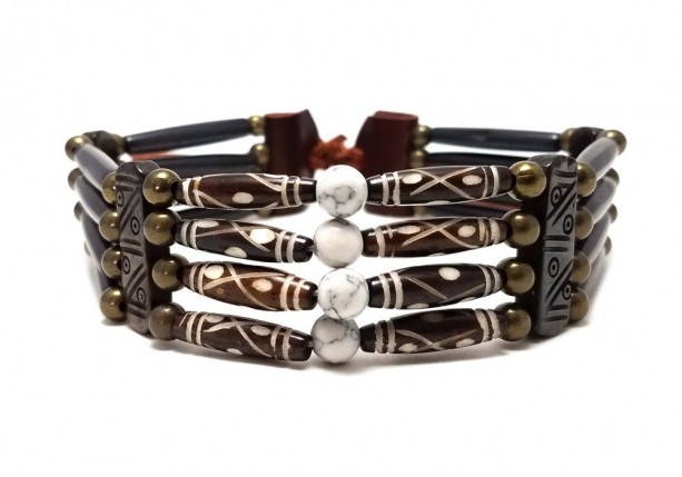 Handmade Traditional 4 Row Buffalo Bone Hairpipe Beads Tribal Choker Necklace