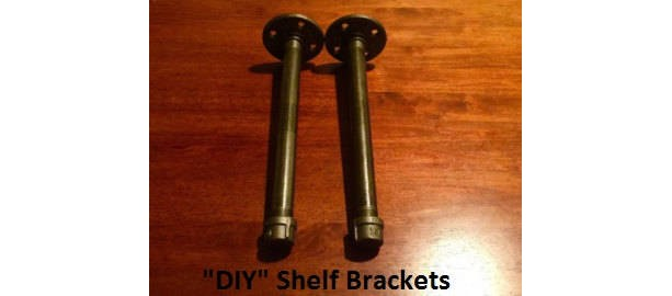 "Shelf Brackets- Black Pipe ""DIY"" Kit 1/2"" x 12"" Long - 2 shelf brackets"