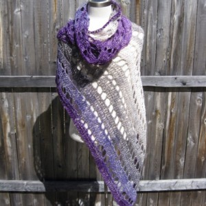 Plum Passion Shawl - wedding shawl, summer shawl, lightweight everyday shawl - Handmade in the USA by Twisted Blossom Design
