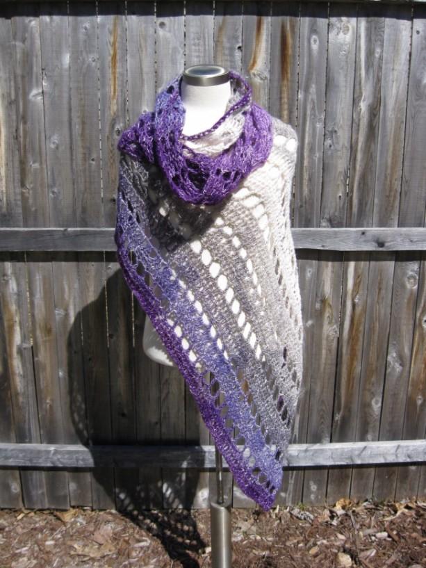 Plum Passion Shawl - wedding shawl, summer shawl, lightweight everyday shawl - Handmade in the USA by Twisted Blossom Design