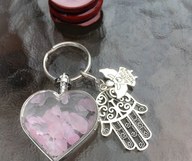 Rose Quartz Crystal Chips with Hamsa Hand and Angels Watching Over Me Charm Keyring / Keychain