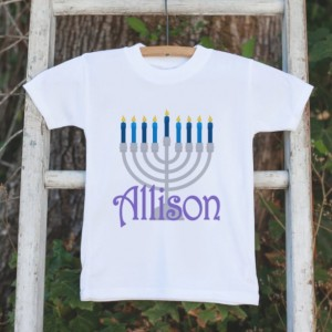 Personalized Menorah Outfit - Kids Hanukkah Onepiece or Shirt - Hanukkah Gift Idea - Happy Hanukkah, Happy Chanukah - Baby, Toddler, Youth