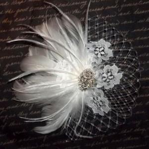 Wedding Hair Facsinator,Bridal Facsinator,Wedding Hair Accessories Bridal Hair Clip,Feather Hair Clip, Wedding Hair Clip, Wedding Head Piece