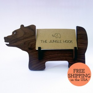 Bear business card holder for desk