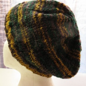 Beanie Grunge Hat Hand Knitted from Hand Spun Hand Dyed 100% Wool  - ROXY ANN PEAK by Kat