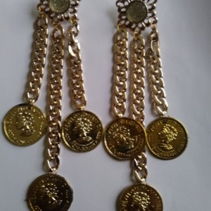 Gold dangly coin earrings