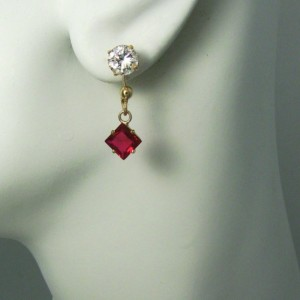 Red Garnet  Solid 14k Gold EARRING JACKETS for Studs  Enhancer Dangle Square  JDSQ6GAR14K