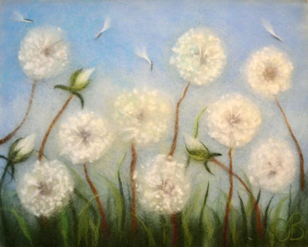 """Wool Painting """"Dandelions"""""""