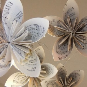 Musically Gifted Flower Mobile Upcycled, Sheet Music Mobile, Flower Mobile, Origami Mobile, Baby Mobile, Nursery Mobile, Crib Mobile,