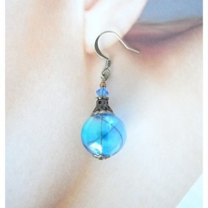 Earrings Aqua and Blue Color Hollow Glass Beads Handmade Hand Blown Sea Beach Water Resort Ice Gradation Color