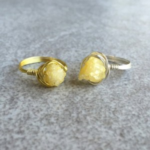 Wire Wrapped Yellow Druzy Ring in Copper, Gold, or Silver