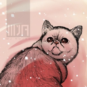 Hallucinating Exotic Shorthair Cat 8x10 Giclee Illustration Art Print, Home Decor, Pets, Weird, Offbeat, Pink, Psychedelic, Matte Finish
