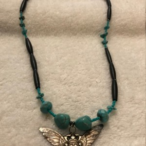 "Vintage Scarab handmade beaded necklace 25"" long"