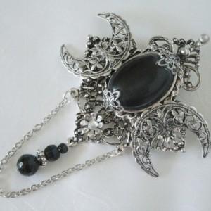 Black Onyx Triple Moon Brooch