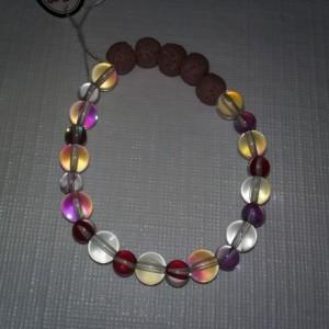 Holographic Rainbow Quartz Gemstones w/Lava Stone Diffuser Bracelet
