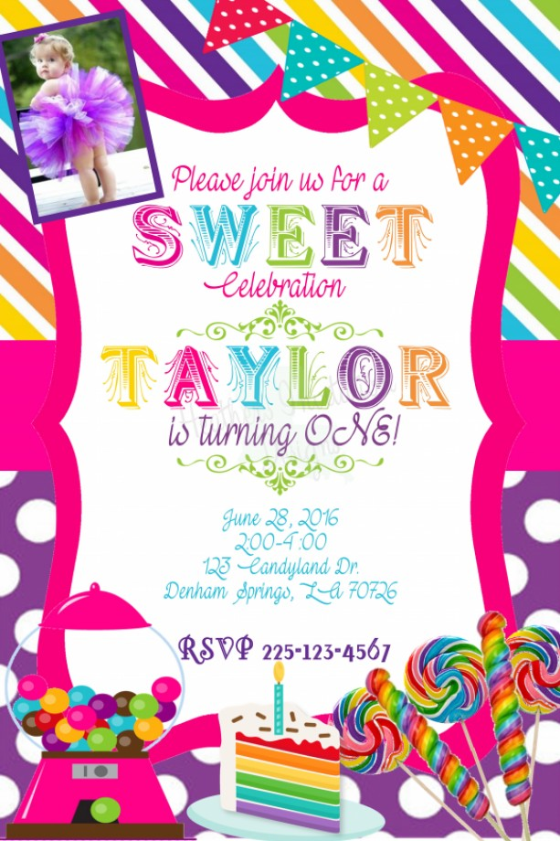 Candyland Birthday Invitation