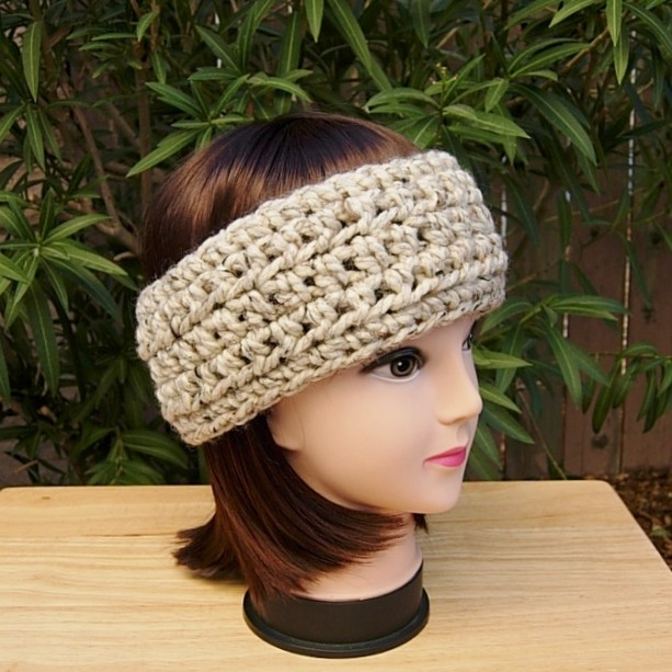 Women's Crochet Winter HEADBAND Ear Warmer Oatmeal Beige, Light Brown Thick Chunky Warm Wool Basic Knit Head Band, Ready to Ship in 3 Days