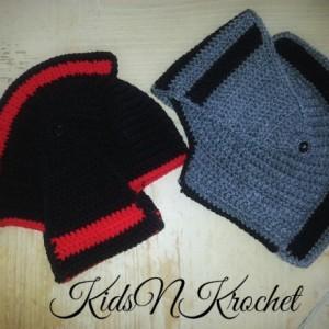 Knight Hat / knight Helmet / black and red